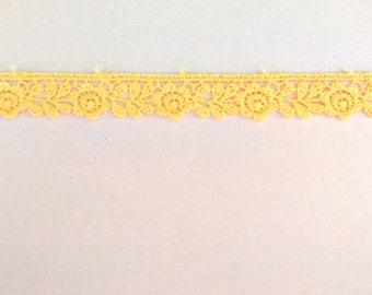 1 Yard/ 9 Yard Pale Yellow lace trim, yellow crochet lace trim pale yellow color lace trim yellow colour lace trim thin crochet