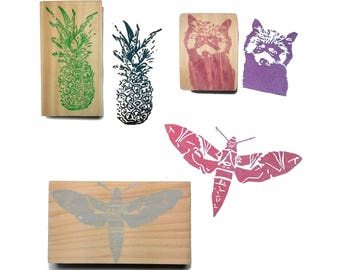 Stamp choise : pineapple, red panda or butterfly - hand made Espèce de Manue