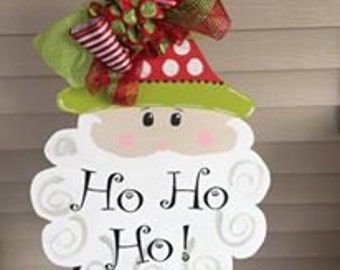 Santa Door Hanger // Christmas Door Decor // Santa Wreath // Holiday Door Hanger //  Christmas Home Decor // HO HO HO // Santa Claus