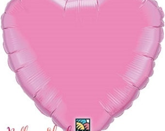 "Rose Heart Balloon- Pink 18"" Foil Balloon- Valentines Day- Birthday Party Balloons"
