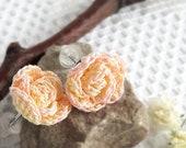 Mini crochet rose stud earrings stainless steel. Miniature roses flower earrings. Personalized earrings for wedding accessory. Tiny flowers.