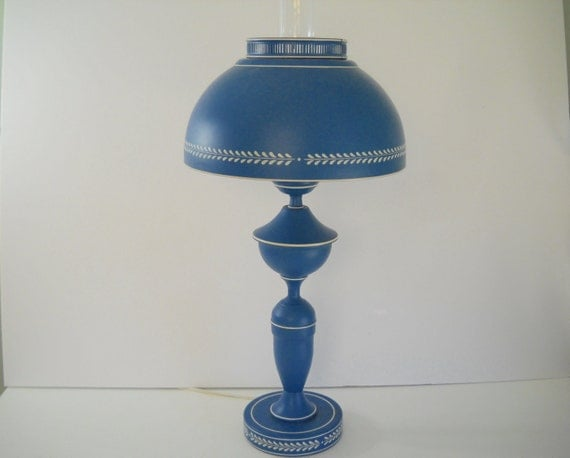 blue tole lamp. Black Bedroom Furniture Sets. Home Design Ideas