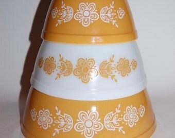 Vintage 3 Pc. Yellow Flower Pyrex Bowl Set