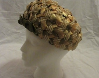 Green and Yellow Woven 50s Hat