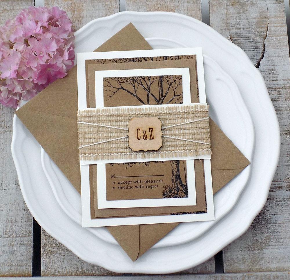 Tree Wedding Invitation Set Burlap Wedding Invitation Tree – Rustic Wedding Invitations with Burlap