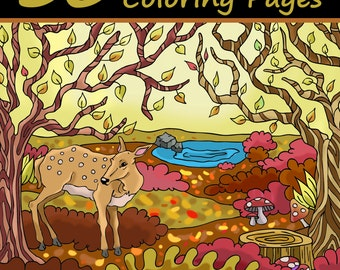 Adult Coloring Book: 30 AUTUMN FALLS Coloring Pages (Flowers, Animals, Birds, Harvest, Wreath, Decoration, Cornucopia, Thanksgiving, Forest)