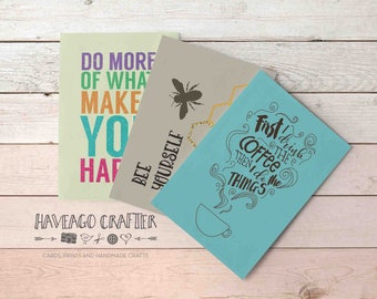 Fun and inspirational quote postcards / notecards - series 5