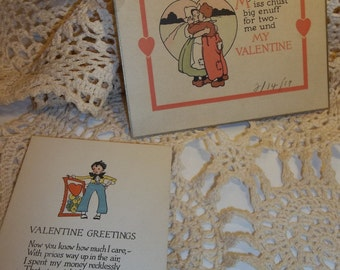 Vintage Valentines Lot Of 2 Small