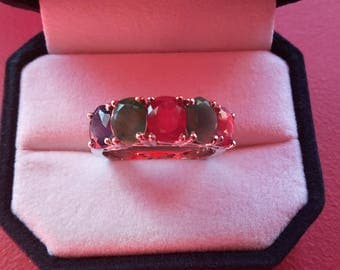 925 sterling silver ring set with Sapphire and Ruby - emerald ring - wedding ring - MIDI ring