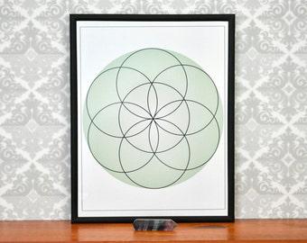 Sacred Geometry Print Seed of Life, Printable Downloadable Wall Art,8X10, Color Green