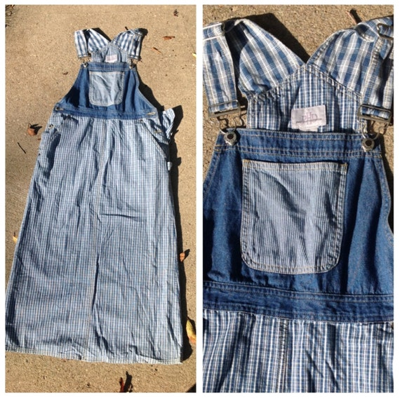 80s 90s plaid and denim maxi dress // Long vintage pinstripe overall skirt // Lone denim dress, size SMALL