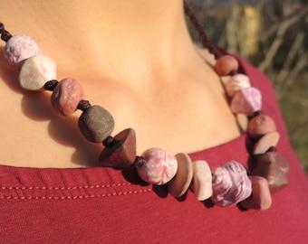 Terra cotta necklace pink tones