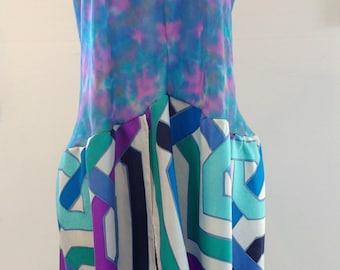 Tie Dye Lounge Wear for Women, Plus Size Halter Lingerie, Blue Sleepwear for Women, Nightdress Plus Size, Halter Neck, Silk Lingerie