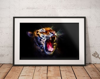 Tiger Painting Print, African Tiger Print, Colorful Tiger Painting, Nature, Tiger Roar Print