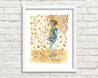 A Gust of Wind Illustration, Art Print