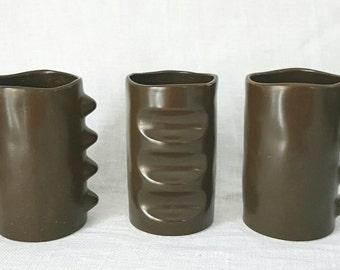 Set of three brown vintage Jie vases, collectors vases, swedish Jie, ceramic vases, Housewarming gift, retro gifts, vintage vase, Jie, 70s