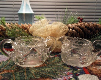 Etched Cut Glass Creamer and Sugar Bowl