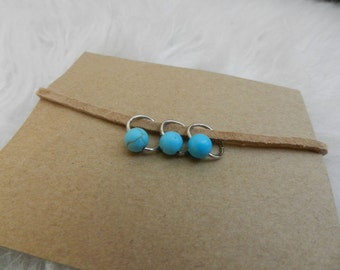 tan suede bracelet with turquoise charms