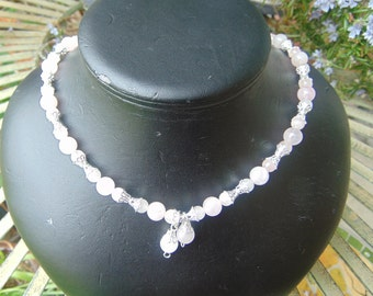 necklace, rose quartz, silver plate spacers 19 in
