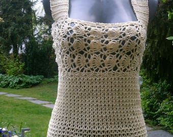 Crochet top, bright yellow, size 36-38 (S-m)