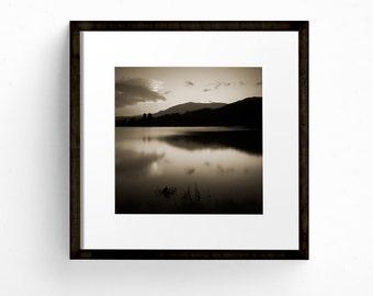 Large Landscape Print, Black and White Print, Square Print, Landscape Photography, Lake District Print, Lakes and Mountains Art, Fine Art