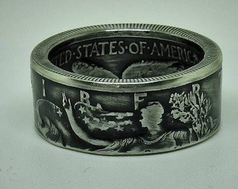 "Coin ring half dollar ""Walking liberty"". 900 Silver 50 cent half dollar Coinring"
