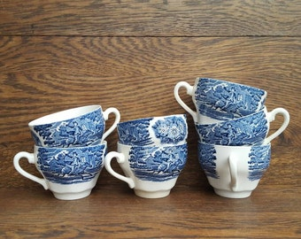 Liberty Blue China - 1970's Vintage Blue Teacups- Paul Revere's Ride- Kitchen Decor. Sold separately. Replacement China.