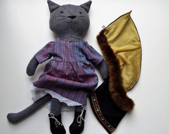 Cat Doll with Clothes, Rag Doll Cat, Dress up Cloth Doll, Stuffed Animal Cat, Gift for Girl, Modern Toy, Elise