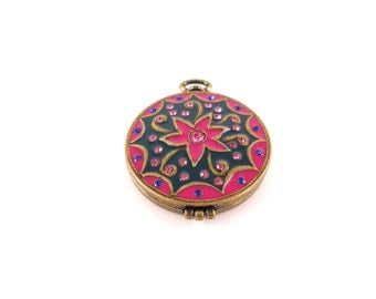 Flower Locket - Pink Flower Locket - Pink Flower Pendant - Brass Floral Pendant - Pink Floral Pendant - Brass Flower Locket - Vintage Brass