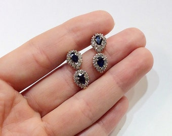 14k White Gold Sapphire and Diamond Vintage Earrings