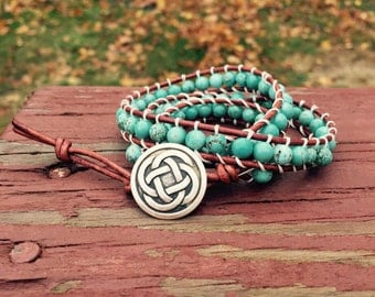 Turquoise Wrapped Cord Bracelet