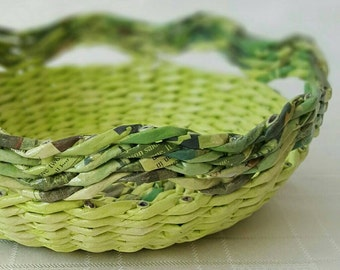 Fruit Basket Woven Decorative Bowl Round Kitchen Storage Organizer Paper Wicker