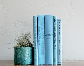 Ocean Blue Book Set, Aqua Blue Books, Turquoise Books, Bookshelf Decor, Beach Wedding Decor, Book Bundle, Coastal Decor, Decorative Books