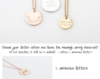 Dainty Bridesmaid Gift, Coordinates Necklace, Delicate Rose Gold GPS Necklace, Personalized Gold Disc Necklace, Gift for her Wedding