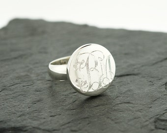 925 Sterling Silver Round Circle Monogram Ring