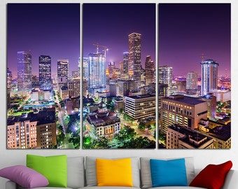 Houston City Houston Canvas Houston Skyline Houston Print Houston Photo Houston Poster Houston Art Houston wall art Houston Wall Decor