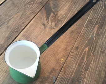Vintage Enamelware Green/Black Turkish Ladle