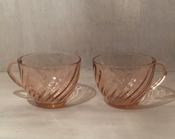 Vintage Pink / Rosaline Glass Tea Cups by Arcoroc France (Set of 2)