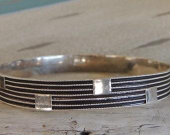 """Vintage 950K Sterling Bangle Bracelet 8.25"""" Round 2.5"""" Wide 15g"""