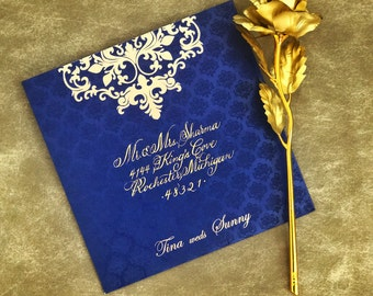 Calligraphy wedding envelope / Hand addressed / Handwritten / Indian wedding / Royal wedding / Luxury wedding / Gold calligraphy / Elegant