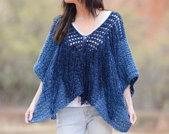 Crochet Poncho Pattern, Summer Crochet Pattern, Easy Crochet Poncho, Boho Poncho Pattern, Azul V Mesh Poncho, Festival Crochet Pattern, Jean