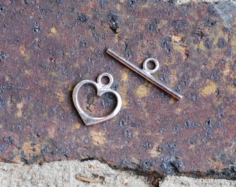 Sterling Silver Open Heart Toggle Clasp / CSP002
