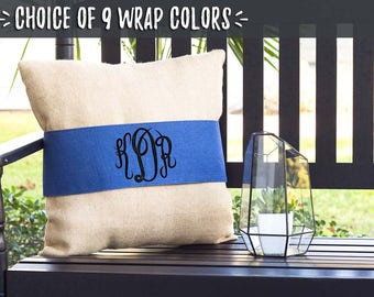 Throw Pillows for Living Room, Script Monogram Pillows, Burlap Pillow Wrap, Blue Accent Pillows, Personalized Wedding Gifts, 508009274