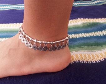 Silver ankle bracelet coin