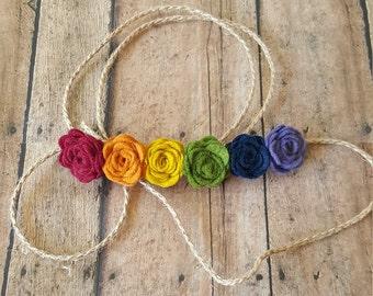 Tieback Rainbow Baby Headband, Rainbow Baby, Newborn Tieback Headband, Rainbow Flower Tieback, Newborn Photo Prop, Rainbow Tieback Headband