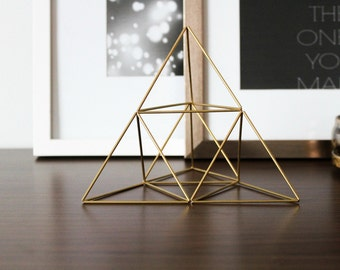 Geometric Sculpture, Brass Pyramid Air Plant Holder, Himmeli, Sacred Geometry, Centerpiece