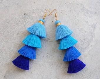 Four Layered Blue Ombre Tassel Earrings