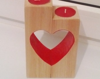 Wooden heart candle holder.