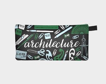 Gift for Architect, Architect Gift, Architecture Gifts, Architecture Pencil Case, Architect Pencil Case, Student Pencil Pouch, Black Pencil