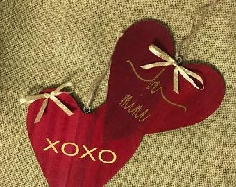 Wood Valentine heart decoration